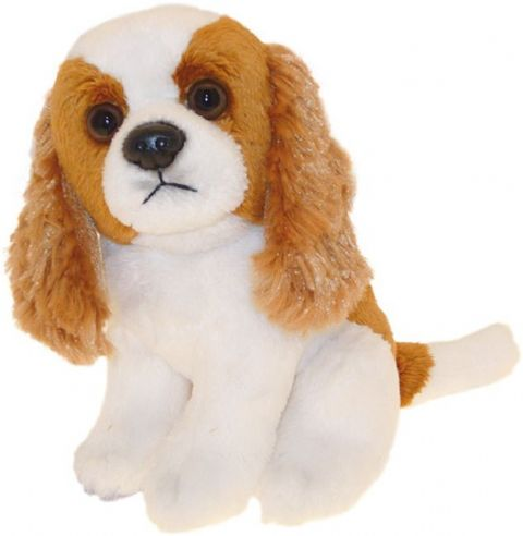 "King Charles Spaniel Blenheim puppy dog sitting Cuddly toy 6.5"" pocket toy"